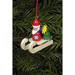 Christbaumschmuck Weihnachtsmann auf Schlitten  -  4,7 x 4,3cm