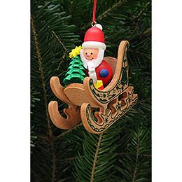 Christbaumschmuck Weihnachtsmann im Schlitten  -  7,5x7,1cm