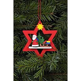 Christbaumschmuck Weihnachtsmann im roten Stern  -  6,8 / 7,8cm