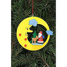 Christbaumschmuck Weihnachtsmann mit Bambi im Mond  -  8,3x7,9cm