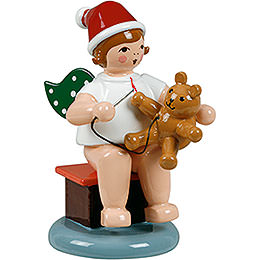 Christmas angel sitting with hat and teddy  -  6,5cm / 2.5inch