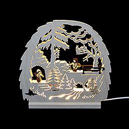 Dekoleuchter Waldmotiv  -  LED  -  30 x 28,5 x 4,5cm