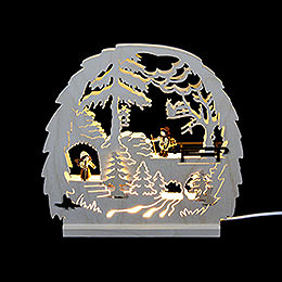 Dekoleuchter Waldmotiv  -  LED  -  30x28,5x4,5cm