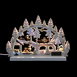 Double - Arch Forest People Stack of Wood (3 Figures)  -  42x30x4,5 7 16x12x2 inch