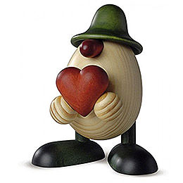 Egghead Father Hanno with heart, green  -  15cm / 5.9inch
