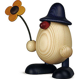 Egghead Father Rudi with flower standing, blue  -  15cm / 5.9inch