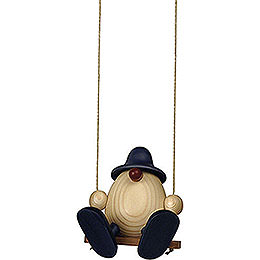 Eierkopf Bruno auf Schaukel, blau  -  11cm