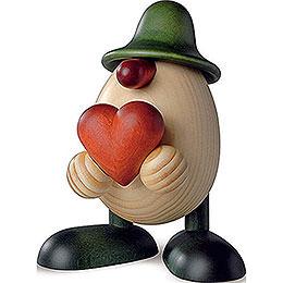 Eierkopf Hanno mit Herz, grün  -  11cm