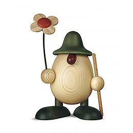 Eierkopf Rudi mit Blume und Stock, grün  -  11cm