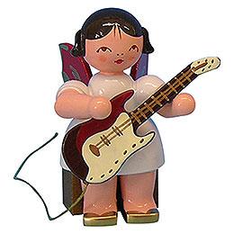 Engel mit E - Gitarre  -  Rote Flügel  -  sitzend  -  5cm