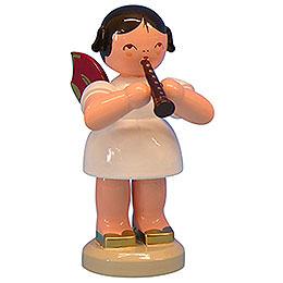 Engel mit Flöte  -  Rote Flügel  -  stehend  -  9,5cm
