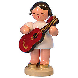 Engel mit Gitarre  -  Rote Flügel  -  stehend  -  9,5cm