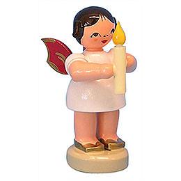 Engel mit Kerze  -  Rote Flügel  -  stehend  -  6cm