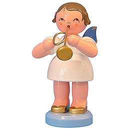 Engel mit Trompete  -  Blaue Flügel  -  stehend  -  9,5cm