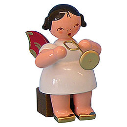 Engel mit Trompete  -  Rote Flügel  -  sitzend  -  5cm