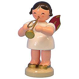 Engel mit Trompete  -  Rote Flügel  -  stehend  -  9,5cm