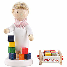 Flax haired angel with Blumenauer building set  -  5cm