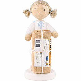 Flax haired angel with Christmas gift  -  5cm