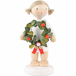 Flax haired angel with Christmas wreath  -  5cm