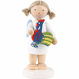 Flax haired angel with polish toy rooster  -  5cm