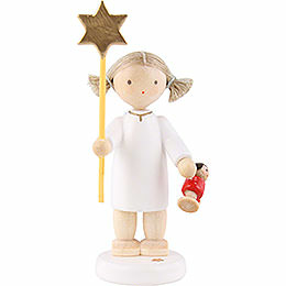 Flax haired angel with star and doll 2015  -  5cm