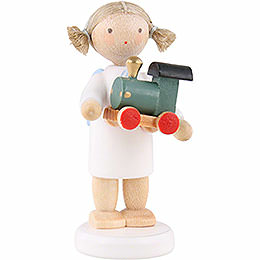 Flax haired angel with toy railroad  -  5cm