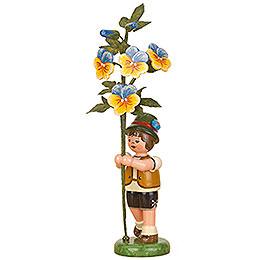 Flower child boy with horned violet  -  17cm / 7inch