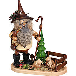 Forest gnome shepherd on oval plate  -  26cm / 10.2inch