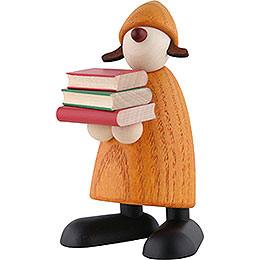 Gratulantin Lilly mit Büchern, gelb  -  9cm