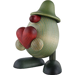 Grünes Männlein mit Herz  -  11cm