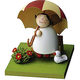 Guardian Angel with Umbrella on Bench  -  3,5cm / 1.3 inch