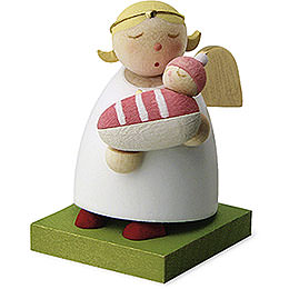 Guardian angel with baby  -  girl  -  3,5cm / 1.3inch