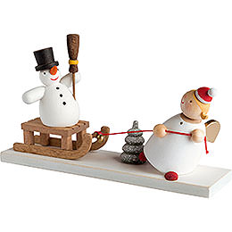 Guardian angel with snowman sleigh  -  3,5cm / 2inch / 1.4inch