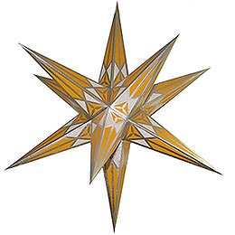 Hartenstein Christmas star  -  white - yellow with silver  -  68cm / 27inch