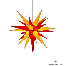 Herrnhuter Moravian star I7 yellow/red paper  -  70cm