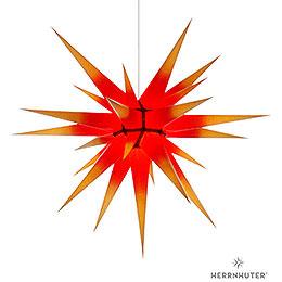 Herrnhuter Stern I8 gelb/roter Kern Papier  -  80cm