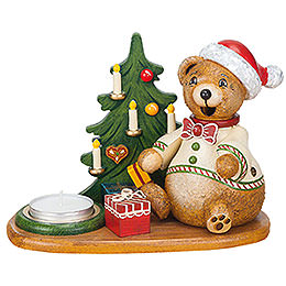Hubiduu Smoker Teddy's Christmas presents with tea candle  -  14cm / 5,5inch