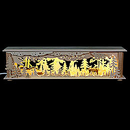 Illuminated stand forest with deer and foxes for candle arches  -  50x12x10cm / 20x5x4inch