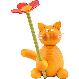 Katze Emmi mit Blume  -  8cm