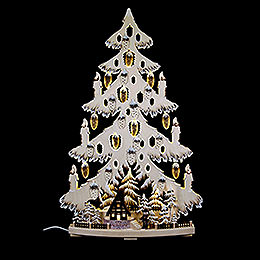 Light triangle fir tree with forest hat and white frost  -  44x67x9cm / 17x26x3.5inch
