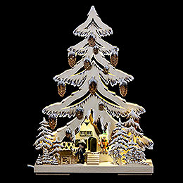 Light triangle forest house with forrester and white frost  -  32x44cm / 12.6x17.3inch