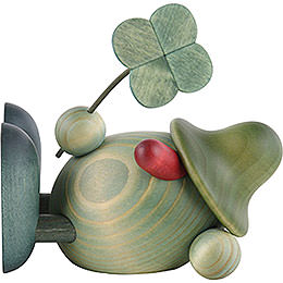 Little Green Man with four - leaf clover, lying down  -  11cm / 4.3inch