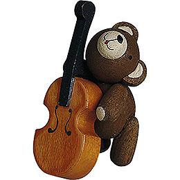 Lucky bear with Cello  -  4cm / 1.6inch