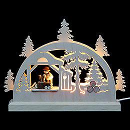 Mini LED Schwibbogen  -  Holzhacker  -  23x15x4,5cm