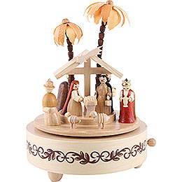Music Box Nativity Scene natural wood  -  7 inch  -  19cm