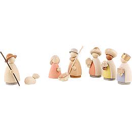 Nativity set of 8 pieces  -  modern glazed  -  8,5cm / 3.3inch