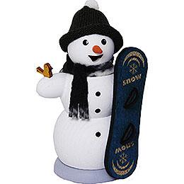 Schneemann mit Snowboard  -  13cm