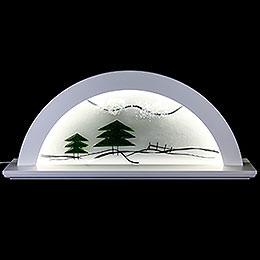 Schwibbogen Erle weiss mit Glas und grüner Tanne  -  79x14x35cm
