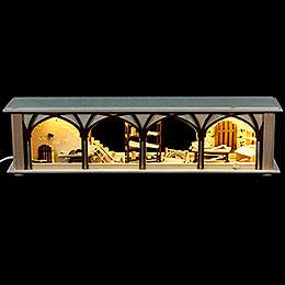 Schwibbogen - Unterbau/Raumleuchte Tischlerlager, braun  -  50x12x10cm