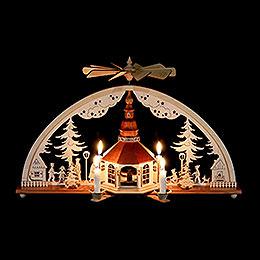 Schwibbogen mit Pyramide und Kerzen Seiffener Kirchen  -  51x27cm